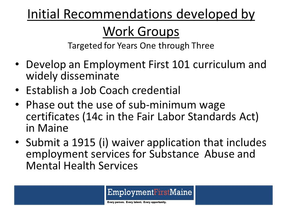 Initial Recommendations developed by Work Groups Targeted for Years One through Three Develop an Employment First 101 curriculum and widely disseminat