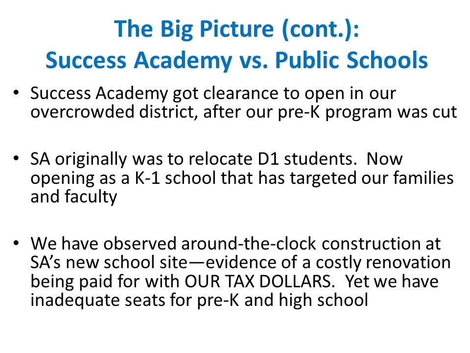 The Big Picture (cont.): Success Academy vs.