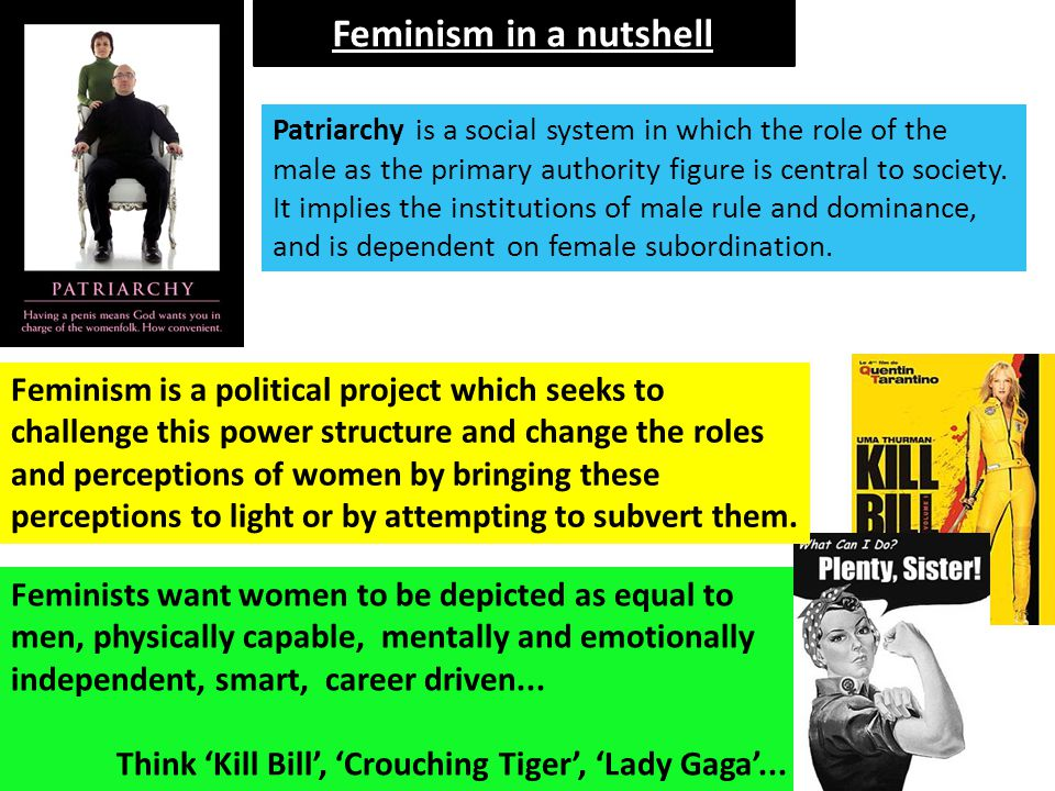 Feminism in a nutshell Feminists want women to be depicted as equal to men, physically capable, mentally and emotionally independent, smart, career dr