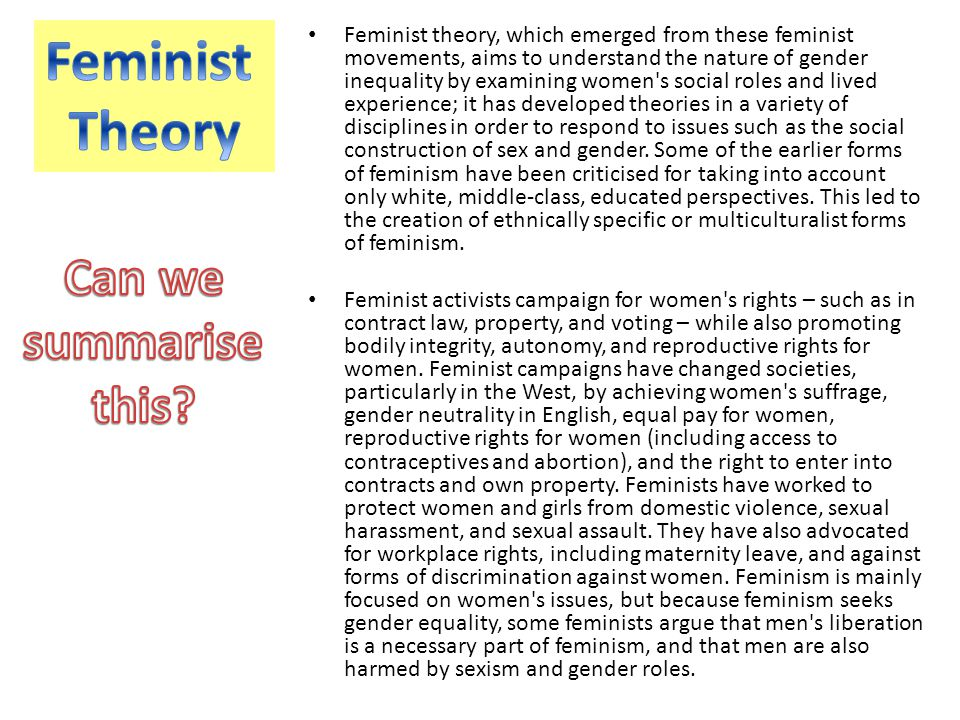 Feminist theory, which emerged from these feminist movements, aims to understand the nature of gender inequality by examining women's social roles and