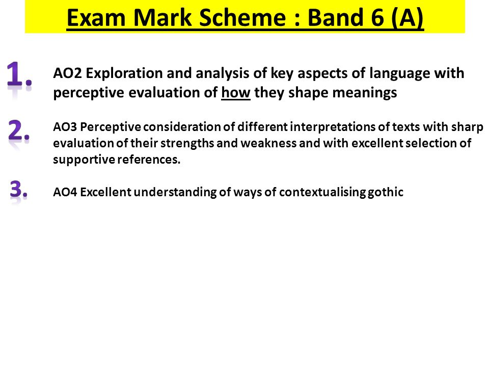 Exam Mark Scheme : Band 6 (A) Band 6 34-40 AO2 Exploration and analysis of key aspects of language with perceptive evaluation of how they shape meanin