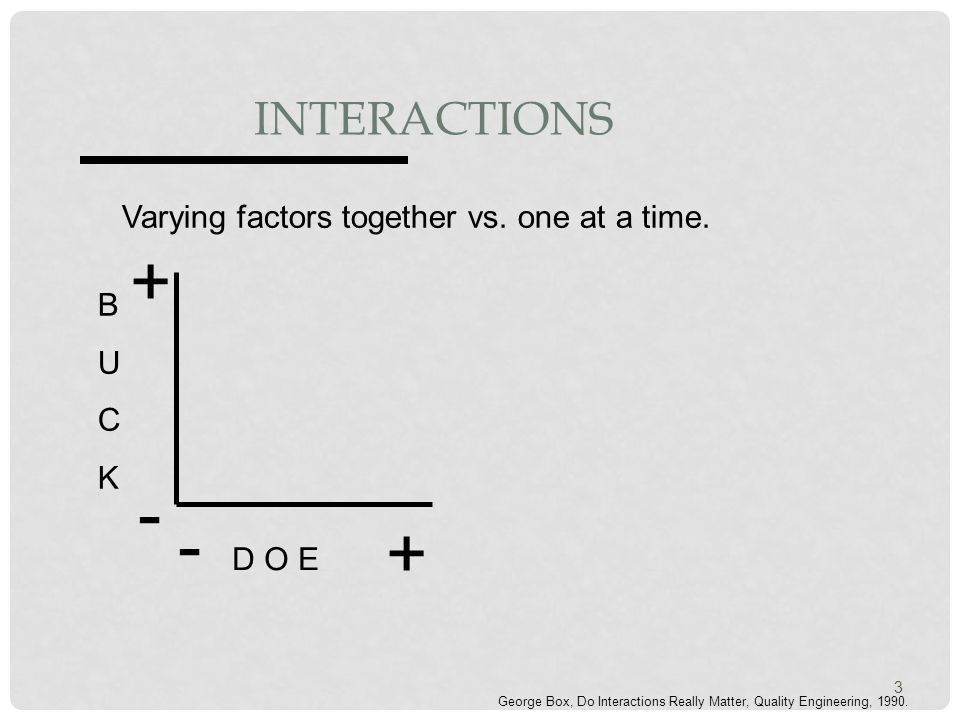 INTERACTIONS Varying factors together vs. one at a time.