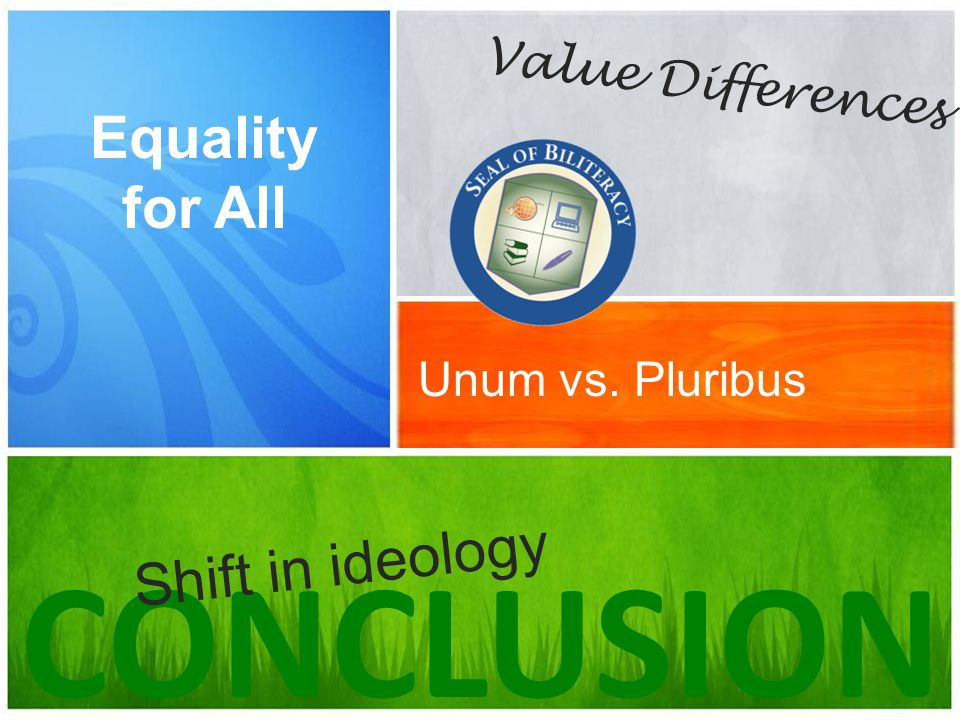 Unum vs. Pluribus Equality for All CONCLUSION Value Differences Shift in ideology