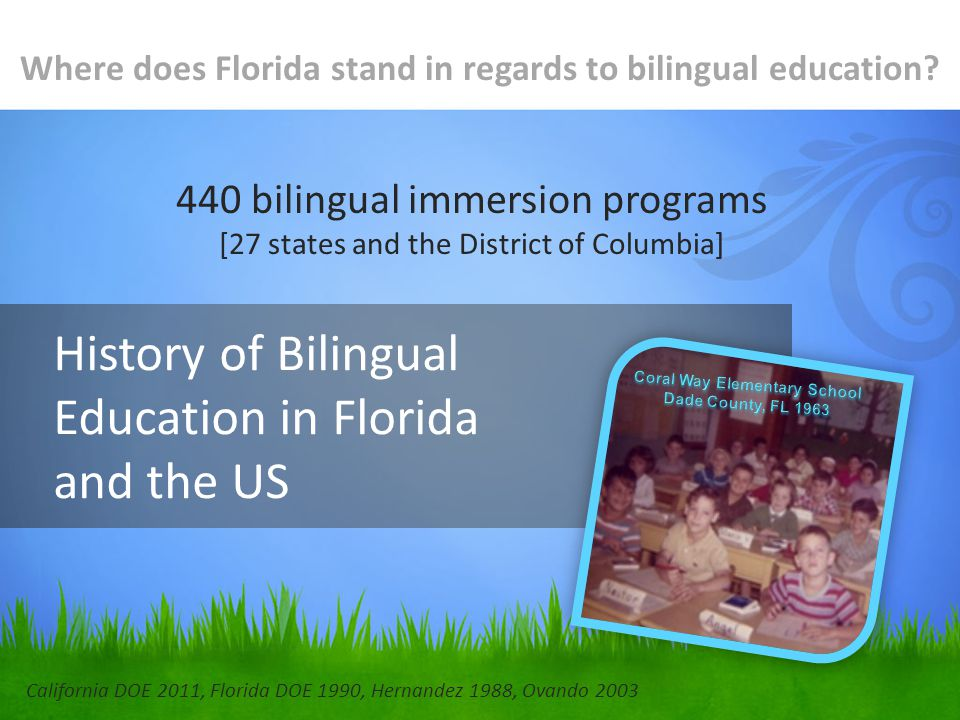 History of Bilingual Education in Florida and the US Where does Florida stand in regards to bilingual education.