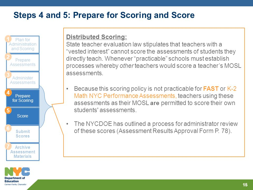 Steps 4 and 5: Prepare for Scoring and Score 15 Plan for Administration and Scoring Prepare Assessments Administer Assessments Prepare for Scoring Sco