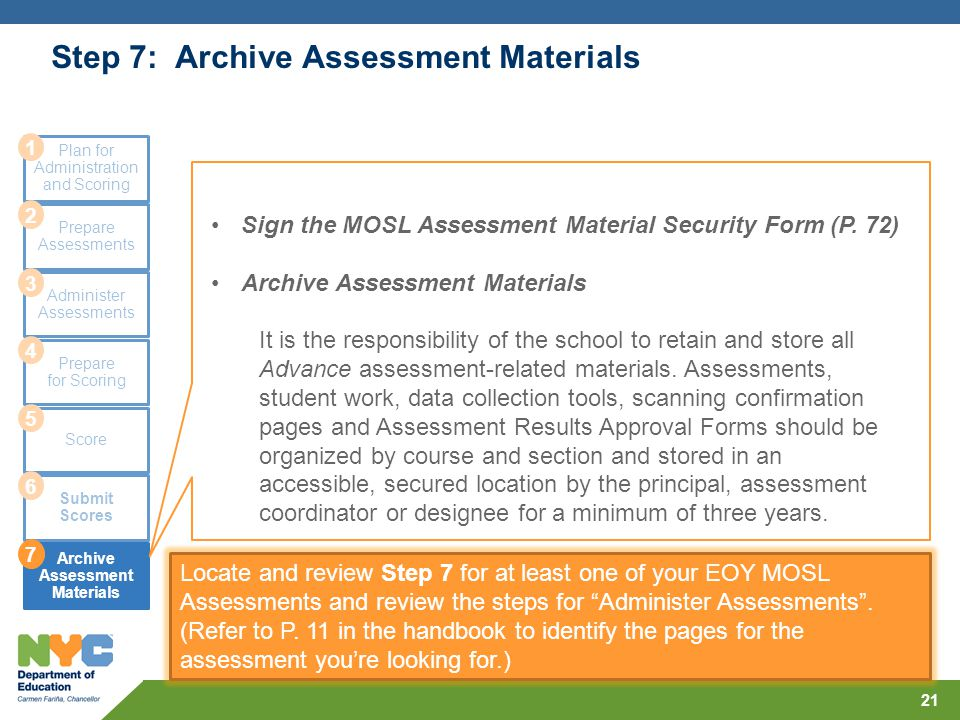 Step 7: Archive Assessment Materials 21 Plan for Administration and Scoring Prepare Assessments Administer Assessments Prepare for Scoring Score Submi