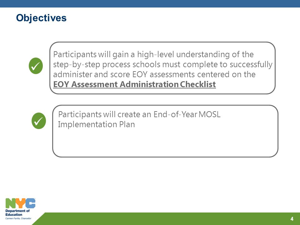 Objectives Participants will gain a high-level understanding of the step-by-step process schools must complete to successfully administer and score EO