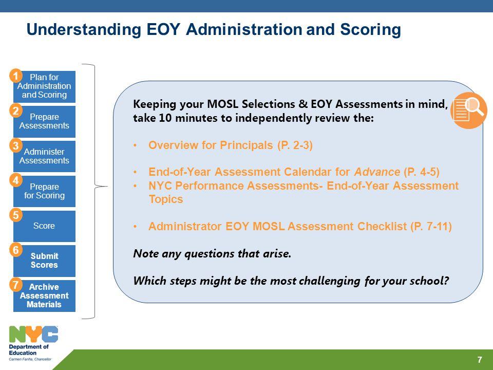 Understanding EOY Administration and Scoring 7 Plan for Administration and Scoring Prepare Assessments Administer Assessments Prepare for Scoring Scor