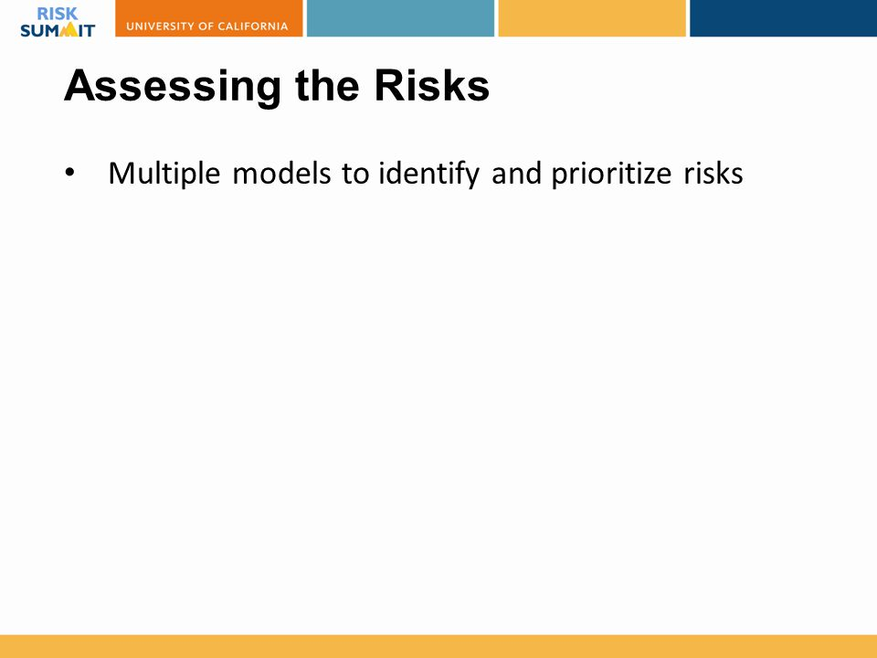 Assessing the Risks Multiple models to identify and prioritize risks