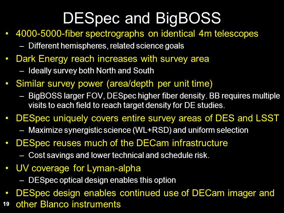 19 DESpec and BigBOSS 4000-5000-fiber spectrographs on identical 4m telescopes –Different hemispheres, related science goals Dark Energy reach increas