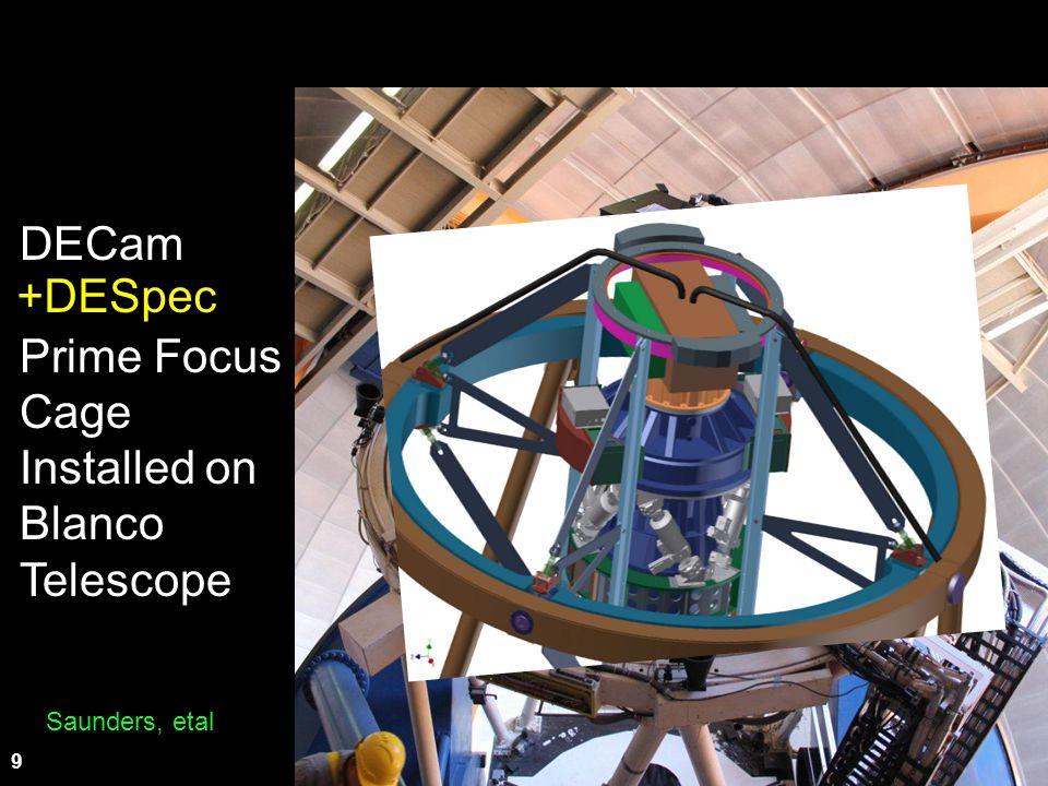 9 DECam Prime Focus Cage Installed on Blanco Telescope +DESpec Saunders, etal