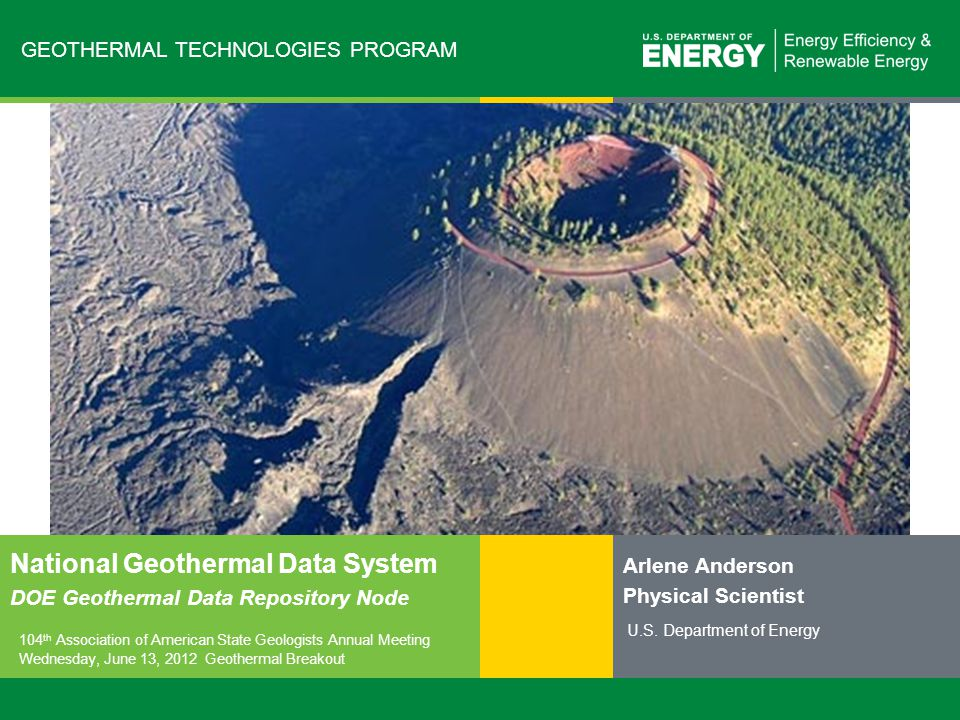 22   Geothermal Technologies Programeere.energy.gov State Geothermal Data Templates http://stategeothermaldata.org Thermal water and tracer data: Aqueous Chemistry Template Title NGDS Data Delivery Model: Aqueous Chemistry Analysis