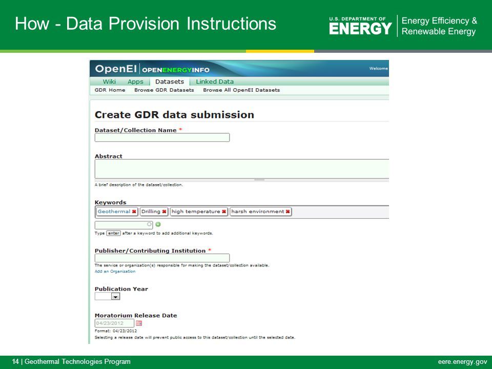 14 | Geothermal Technologies Programeere.energy.gov How - Data Provision Instructions