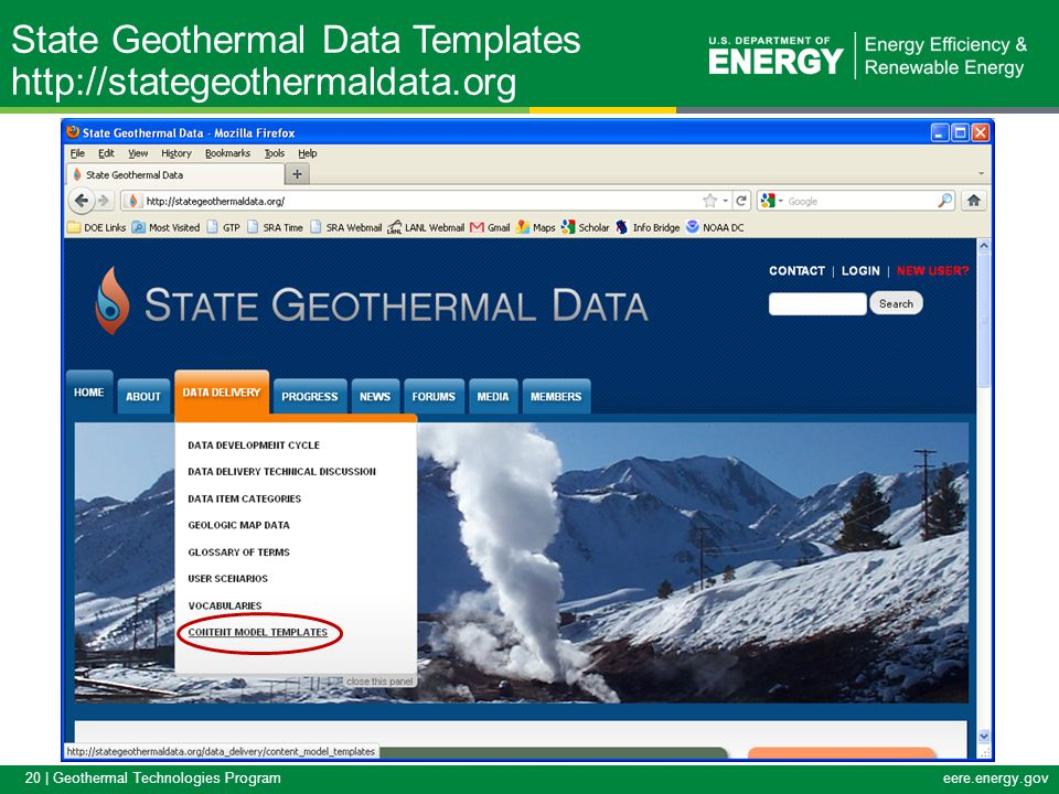 20 | Geothermal Technologies Programeere.energy.gov State Geothermal Data Templates http://stategeothermaldata.org