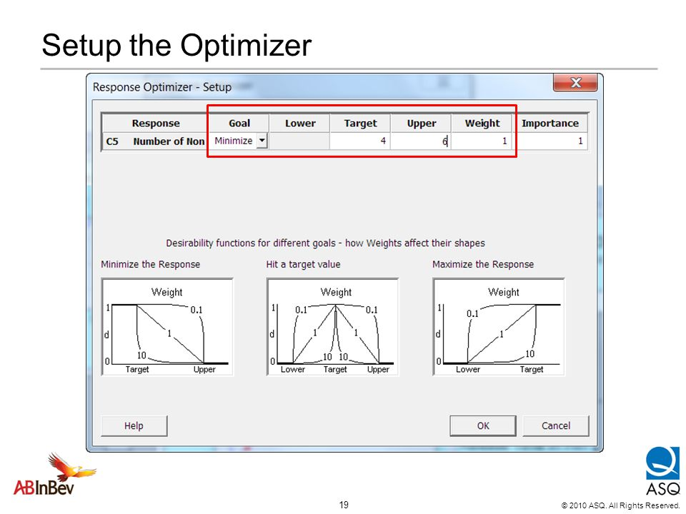 © 2010 ASQ. All Rights Reserved. 19 Setup the Optimizer