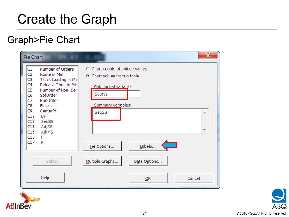 © 2010 ASQ. All Rights Reserved. 24 Create the Graph Graph>Pie Chart