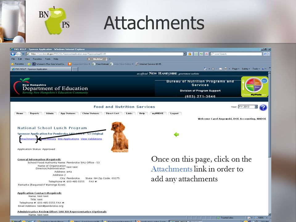 Attachments Once on this page, click on the Attachments link in order to add any attachments