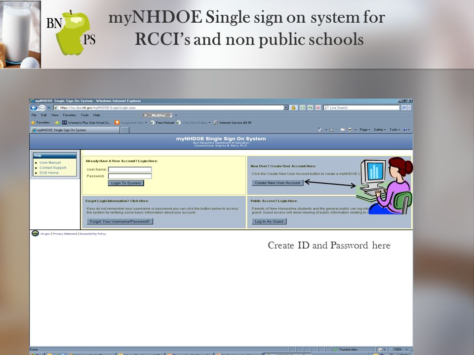 myNHDOE Single Sign On System for Public Schools, RCCI's and non public schools Once you have been given access to the my NHDOE Single Sign On system, can access your program and assigned your role, click on Food and Nutrition Services.