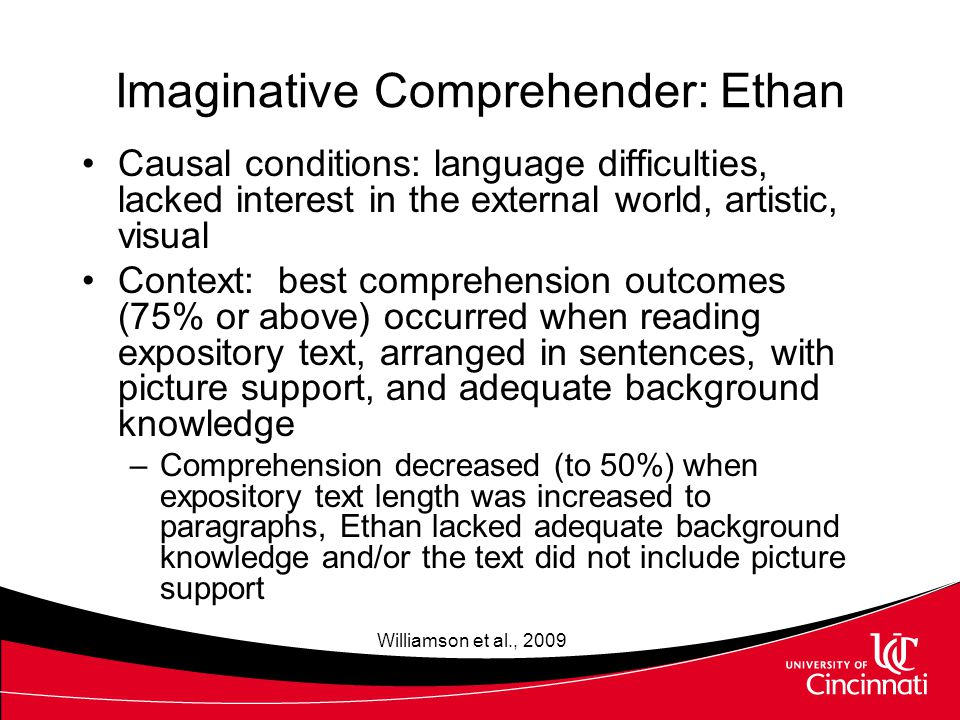 Consequences of Action Strategies (HFC, Mark) Intended –When reading instructional level texts, explicit and implicit comprehension questions were answered with a high degree of accuracy Explicit questions answered correctly more than 90% of the time (28/30) Implicit questions answered correctly more than 70% of the time (22/30) Unintended –Interactions between action strategies and moderators impeded answering implicit comprehension questions less than 30% of the time Carnahan et al., in press; Williamson et al., 2009