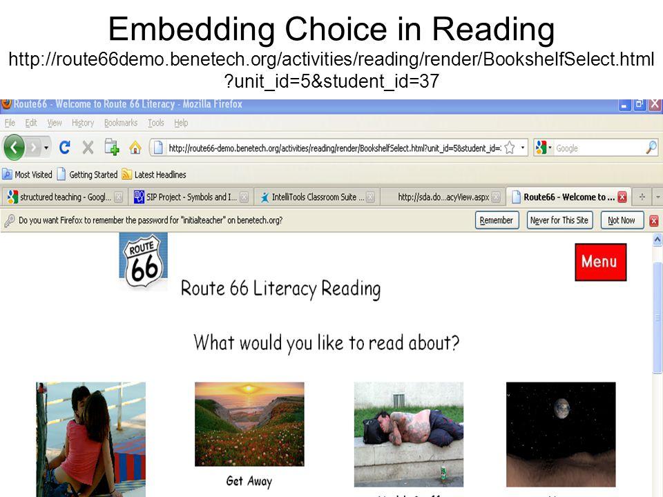 Embedding Choice in Reading http://tarheelreader.org/accessing-tar-heel-reader/intellikeys-access/