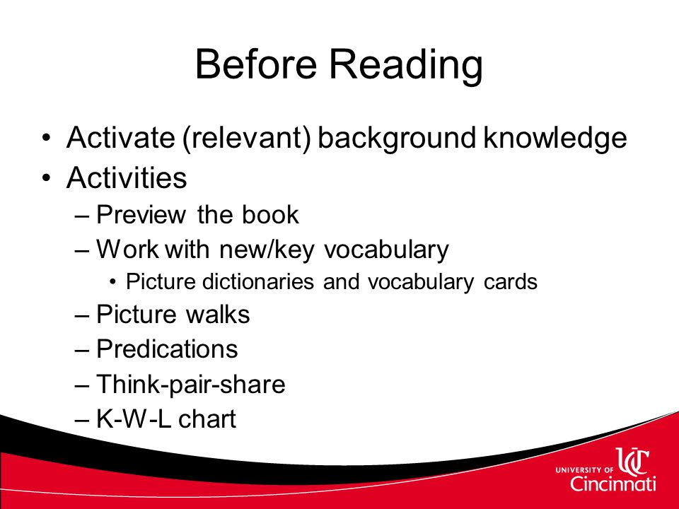 Strategies for Engaging Learners with the Text Language Experience Approach Reader's Workshop Shared reading Partner Reading Guided Reading Each activ