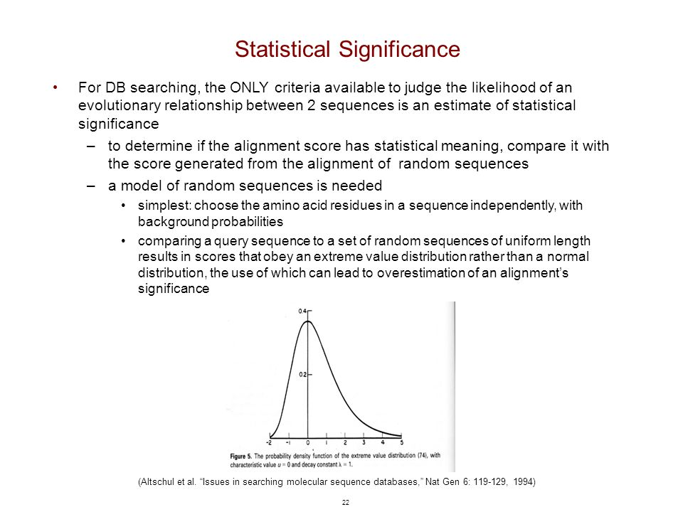 "22 Statistical Significance (Altschul et al. ""Issues in searching molecular sequence databases,"" Nat Gen 6: 119-129, 1994) For DB searching, the ONLY"