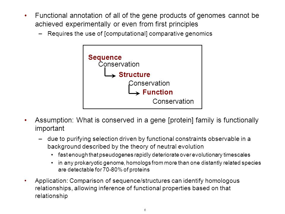 6 Functional annotation of all of the gene products of genomes cannot be achieved experimentally or even from first principles –Requires the use of [c