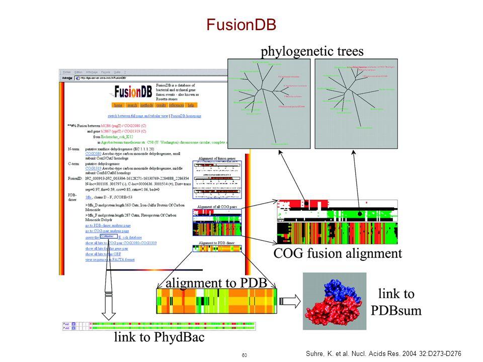 60 Suhre, K. et al. Nucl. Acids Res. 2004 32:D273-D276 FusionDB