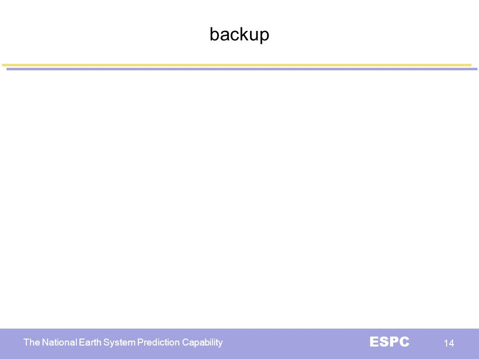 The National Earth System Prediction Capability ESPC 14 backup