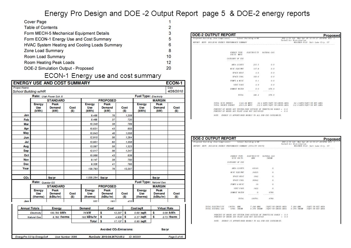 Energy Pro Design and DOE -2 Output Report page 5 & DOE-2 energy reports ECON-1 Energy use and cost summary