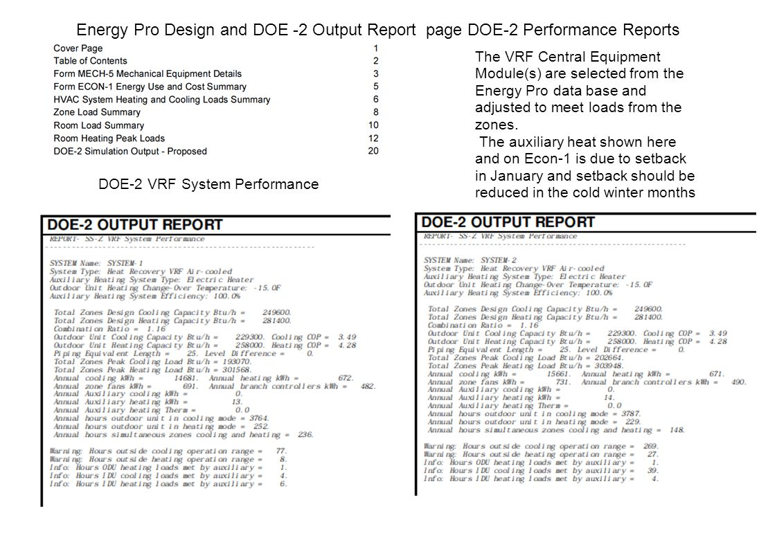 Energy Pro Design and DOE -2 Output Report page DOE-2 Performance Reports DOE-2 VRF System Performance The VRF Central Equipment Module(s) are selected from the Energy Pro data base and adjusted to meet loads from the zones.