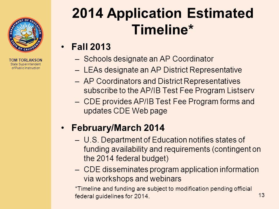 TOM TORLAKSON State Superintendent of Public Instruction 2014 Application Estimated Timeline* Fall 2013 –Schools designate an AP Coordinator –LEAs des