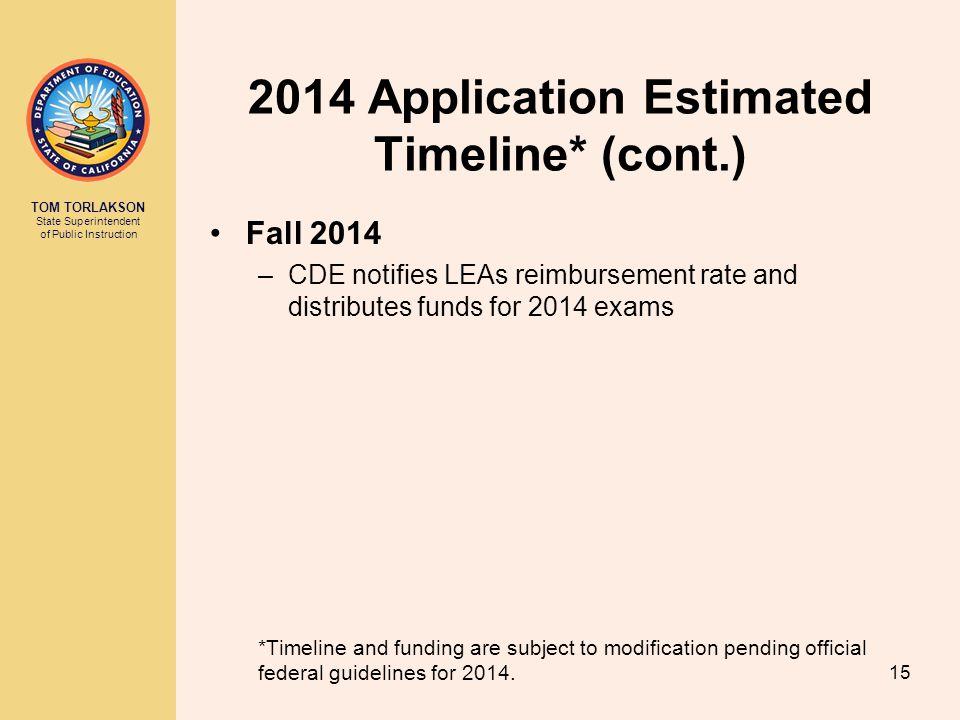 TOM TORLAKSON State Superintendent of Public Instruction 2014 Application Estimated Timeline* (cont.) Fall 2014 –CDE notifies LEAs reimbursement rate