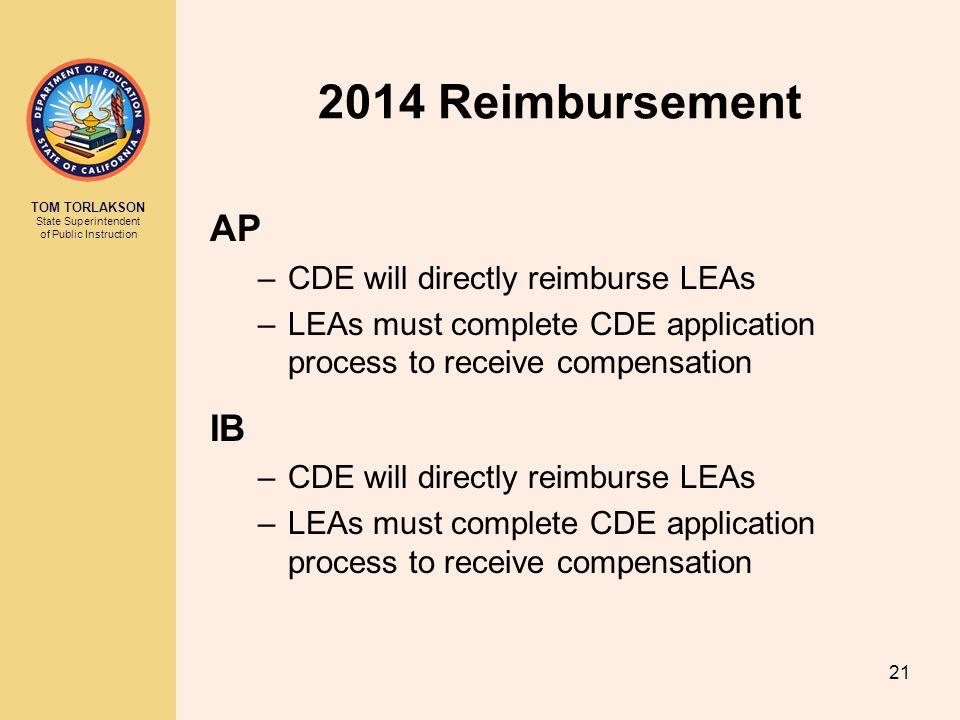 TOM TORLAKSON State Superintendent of Public Instruction 2014 Reimbursement AP –CDE will directly reimburse LEAs –LEAs must complete CDE application p