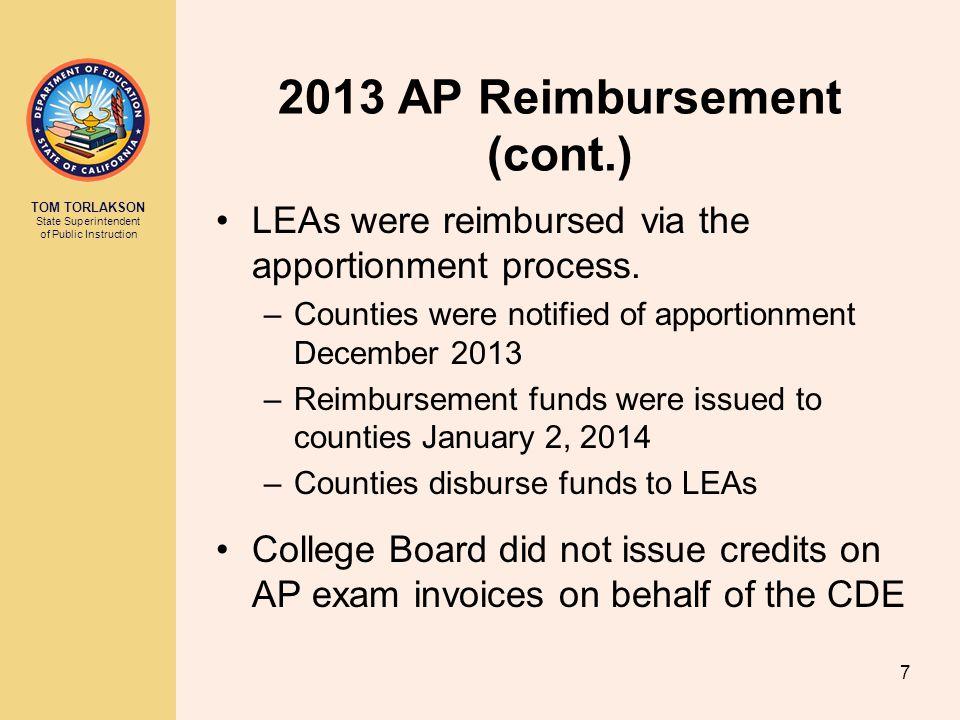 TOM TORLAKSON State Superintendent of Public Instruction 2013 AP Reimbursement (cont.) LEAs were reimbursed via the apportionment process. –Counties w