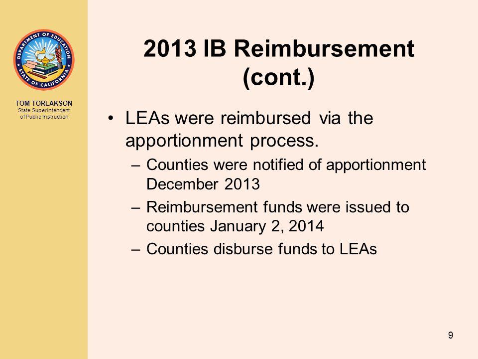 TOM TORLAKSON State Superintendent of Public Instruction 2013 IB Reimbursement (cont.) LEAs were reimbursed via the apportionment process. –Counties w