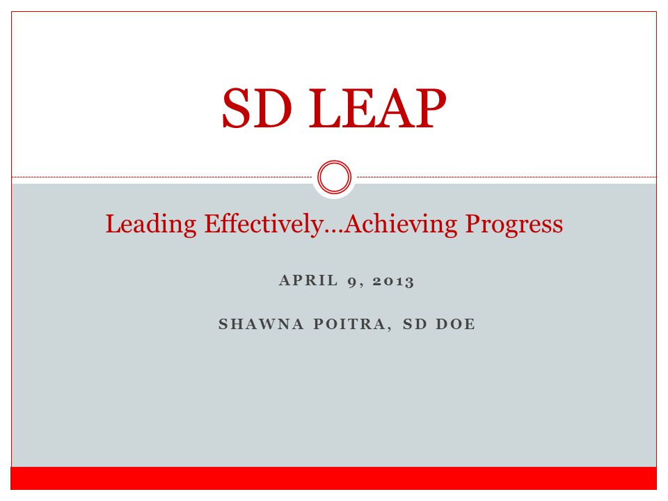 APRIL 9, 2013 SHAWNA POITRA, SD DOE SD LEAP Leading Effectively…Achieving Progress