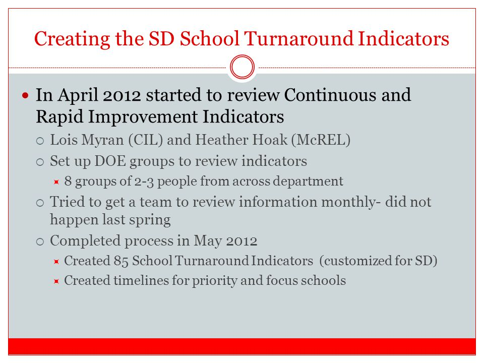 Creating the SD School Turnaround Indicators In April 2012 started to review Continuous and Rapid Improvement Indicators  Lois Myran (CIL) and Heather Hoak (McREL)  Set up DOE groups to review indicators  8 groups of 2-3 people from across department  Tried to get a team to review information monthly- did not happen last spring  Completed process in May 2012  Created 85 School Turnaround Indicators (customized for SD)  Created timelines for priority and focus schools