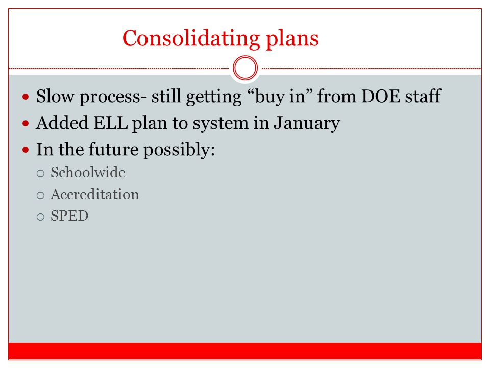 Consolidating plans Slow process- still getting buy in from DOE staff Added ELL plan to system in January In the future possibly:  Schoolwide  Accreditation  SPED