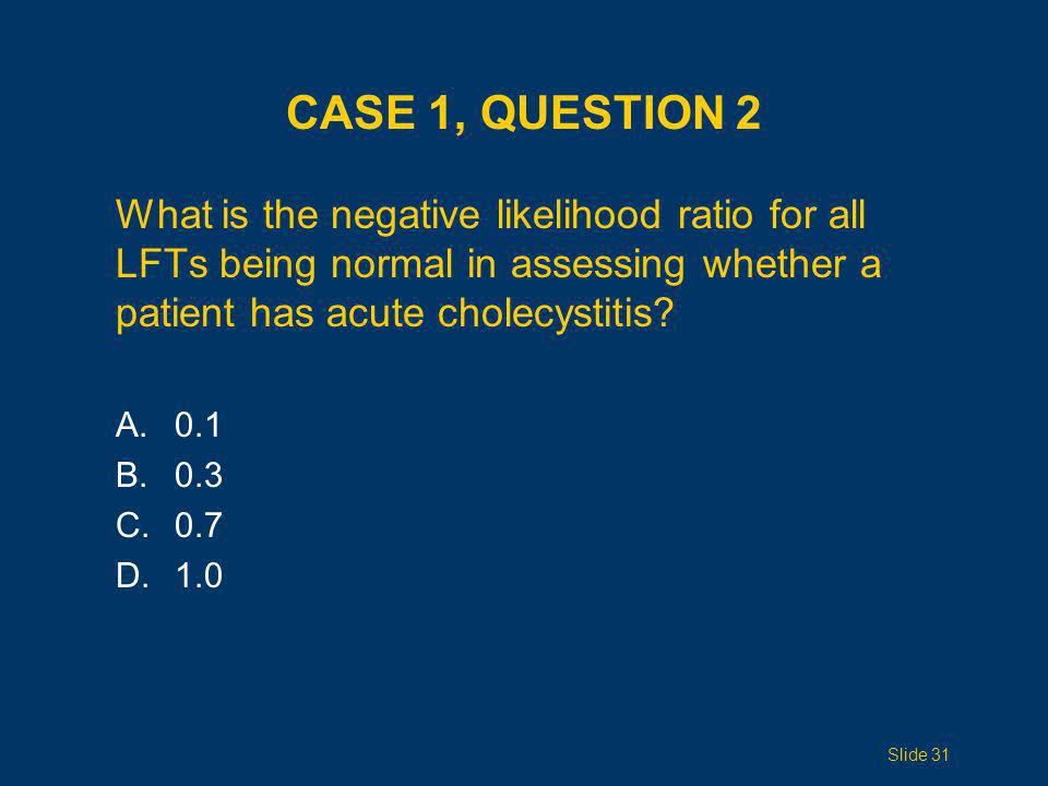 CASE 1, QUESTION 2 What is the negative likelihood ratio for all LFTs being normal in assessing whether a patient has acute cholecystitis? A. 0.1 B. 0