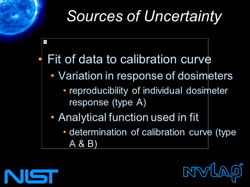 Sources of Uncertainty Fit of data to calibration curve Variation in response of dosimeters reproducibility of individual dosimeter response (type A) Analytical function used in fit determination of calibration curve (type A & B)
