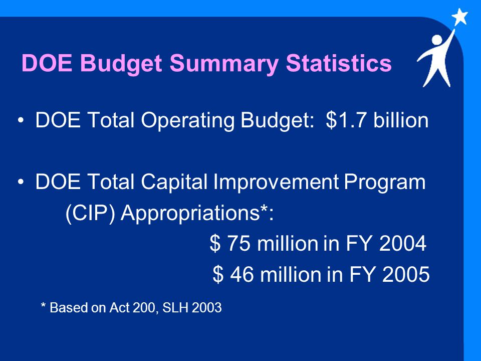 What Percentage is the DOE's Budget Compared to the Total State Budget.