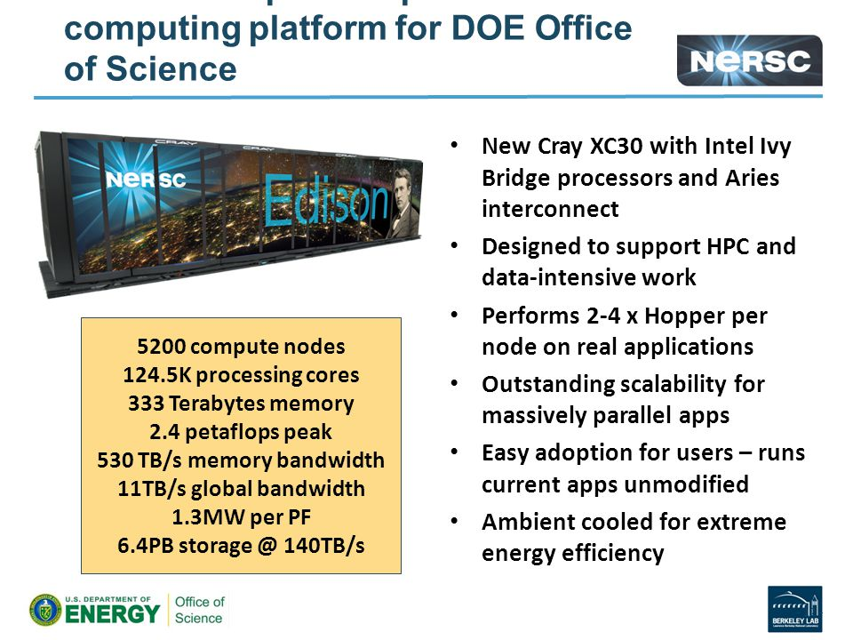 Edison is the premier production computing platform for DOE Office of Science New Cray XC30 with Intel Ivy Bridge processors and Aries interconnect Designed to support HPC and data-intensive work Performs 2-4 x Hopper per node on real applications Outstanding scalability for massively parallel apps Easy adoption for users – runs current apps unmodified Ambient cooled for extreme energy efficiency - 12 - 5200 compute nodes 124.5K processing cores 333 Terabytes memory 2.4 petaflops peak 530 TB/s memory bandwidth 11TB/s global bandwidth 1.3MW per PF 6.4PB storage @ 140TB/s