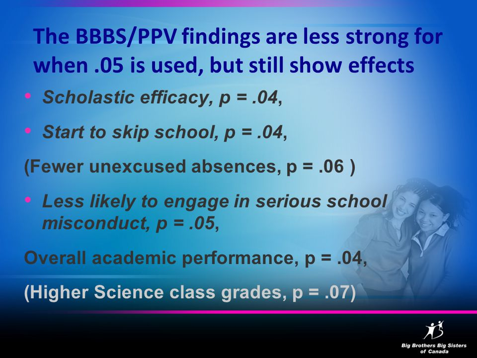 The BBBS/PPV findings are less strong for when.05 is used, but still show effects Scholastic efficacy, p =.04, Start to skip school, p =.04, (Fewer unexcused absences, p =.06 ) Less likely to engage in serious school misconduct, p =.05, Overall academic performance, p =.04, (Higher Science class grades, p =.07)