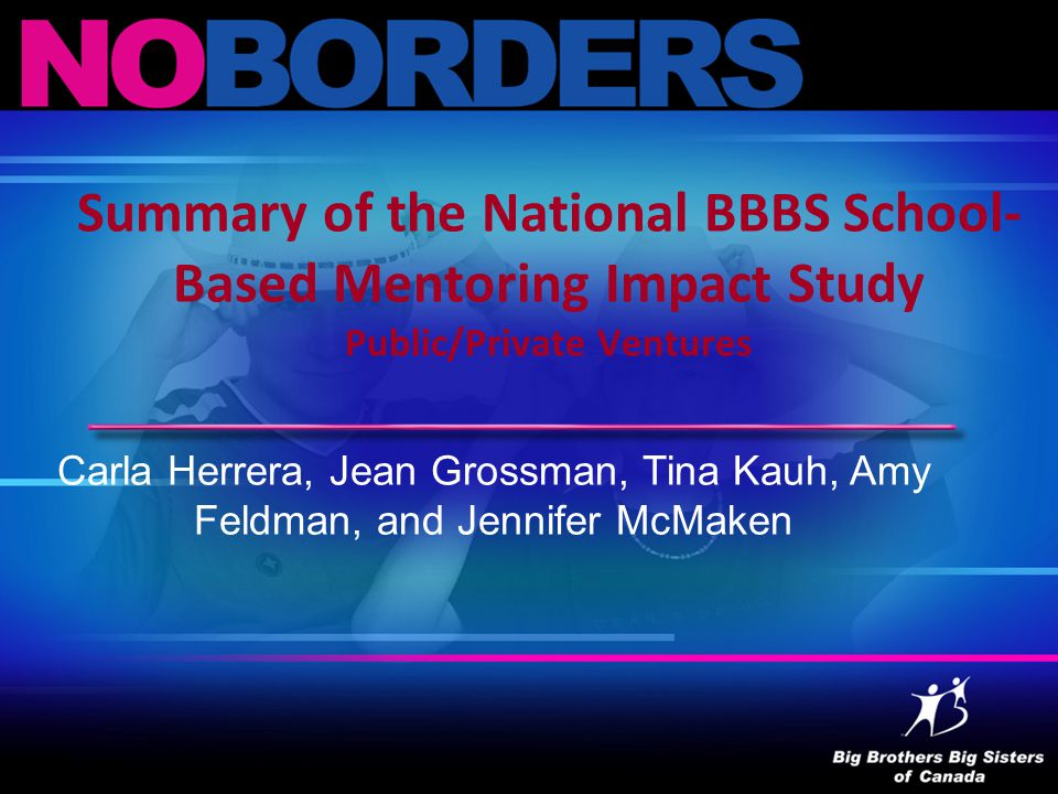Summary of the National BBBS School- Based Mentoring Impact Study Public/Private Ventures Carla Herrera, Jean Grossman, Tina Kauh, Amy Feldman, and Jennifer McMaken