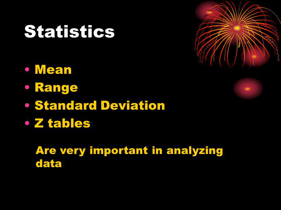 Statistics Mean Range Standard Deviation Z tables Are very important in analyzing data