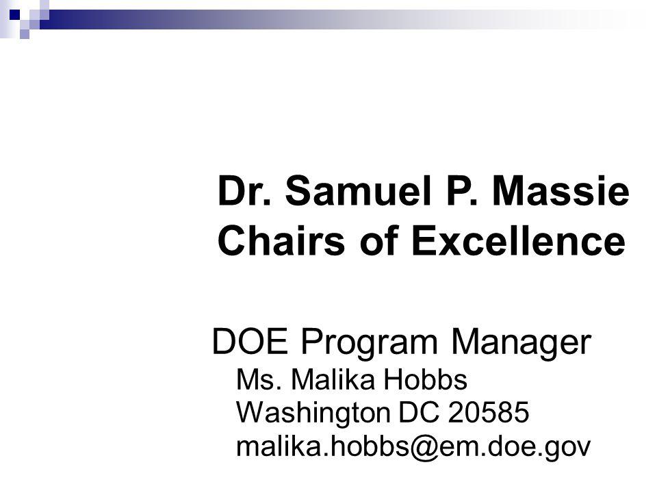 DOE Program Manager Ms. Malika Hobbs Washington DC 20585 malika.hobbs@em.doe.gov Dr.