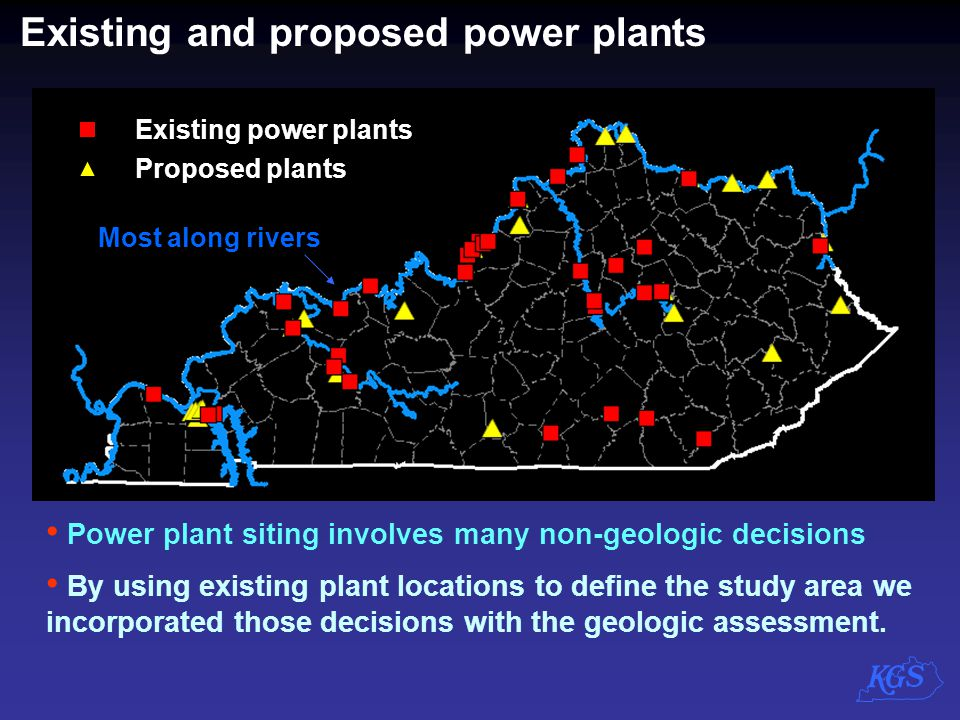 Existing and proposed power plants Existing power plants Proposed plants Power plant siting involves many non-geologic decisions By using existing pla