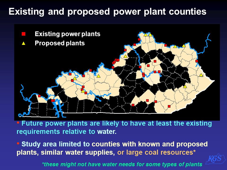 Existing and proposed power plant counties Existing power plants Proposed plants Future power plants are likely to have at least the existing requirem