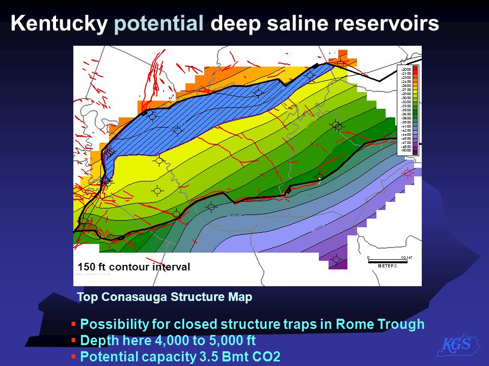 Top Conasauga Structure Map 150 ft contour interval Kentucky potential deep saline reservoirs  Possibility for closed structure traps in Rome Trough